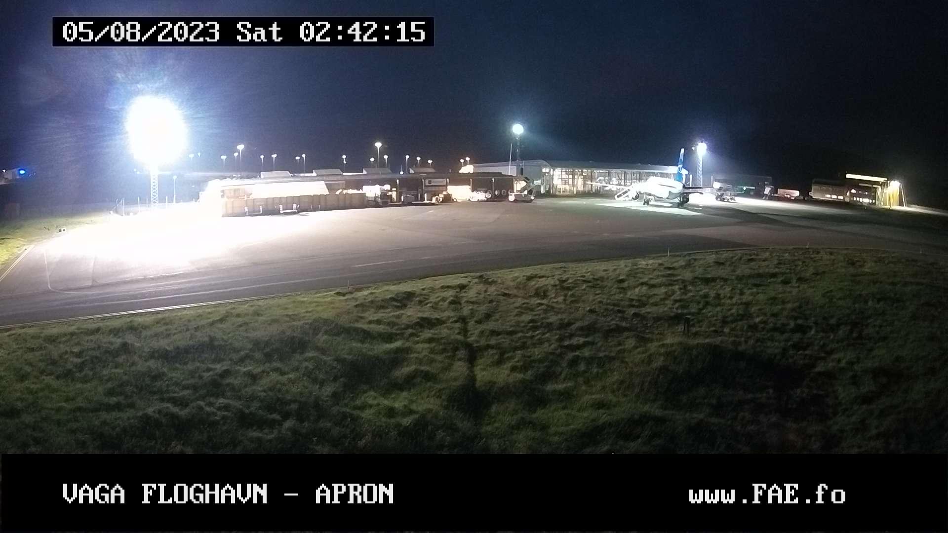 Vejret lige nu, i lufthavnen Vagar på Færøerne.